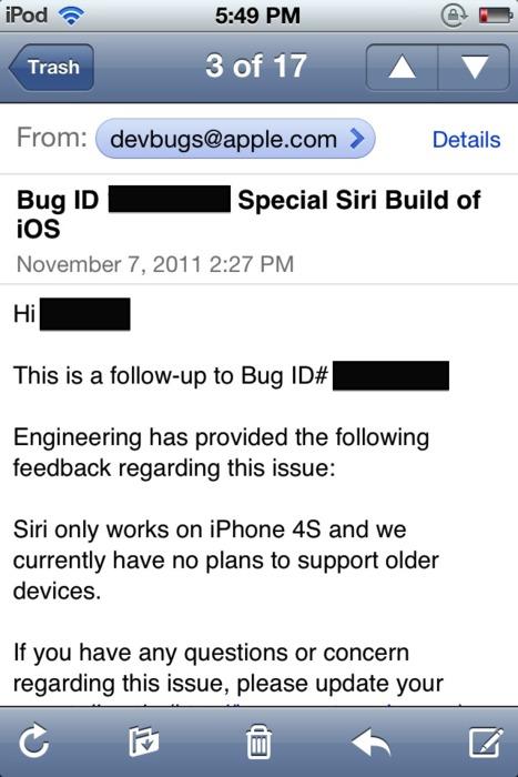 Apple sagt keine Siri auf älteren Geräten