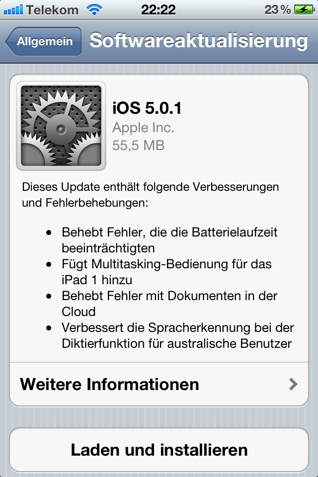 iOS 5.0.1 Over the Air