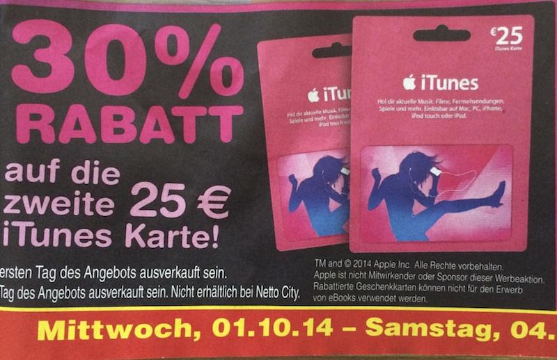 30% Rabatt auf die zweite 25€ iTunes Karte bei Netto